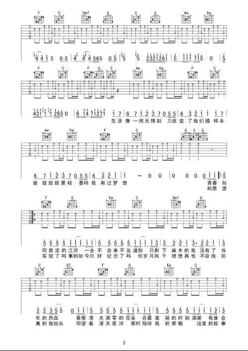 老男孩吉他谱 休闲娱乐,预览图4
